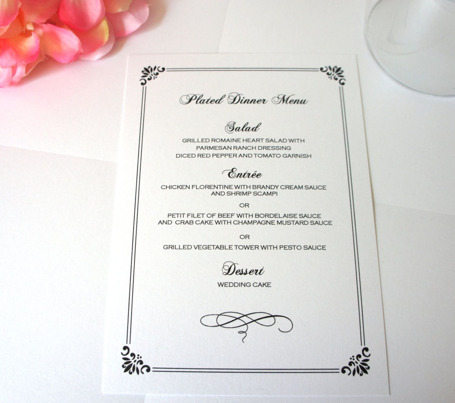 Elegant Menu Card Formal Wedding Menus Black Dinner Deposit