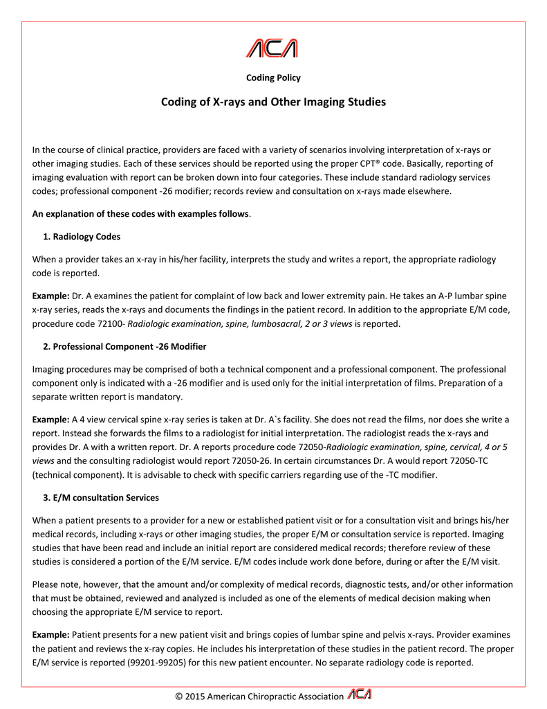 Coding Of Xrays And Other Imaging Studies Regarding Chiropractic X Ray Report Template 10 Profes Report Template Professional Templates Report Card Template