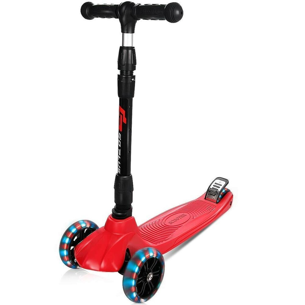 Folding Height Adjustable Kids Kick Scooter With 3 Led Wheels