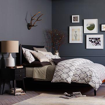 Mid century bed frame king black deep blue master - Black and grey bedroom furniture ...