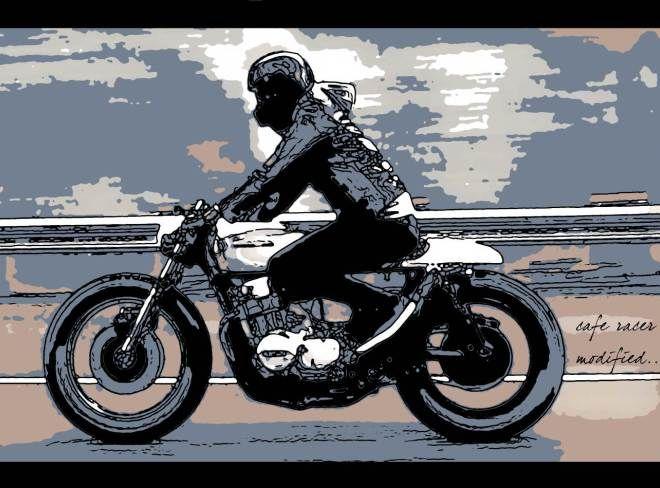 tableau peinture moderne d co moto design caf racer. Black Bedroom Furniture Sets. Home Design Ideas