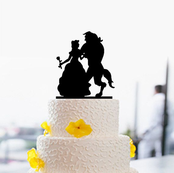 Beauty and Beast Cake Topper-Silhouette Cake Topper-Wedding Cake ...