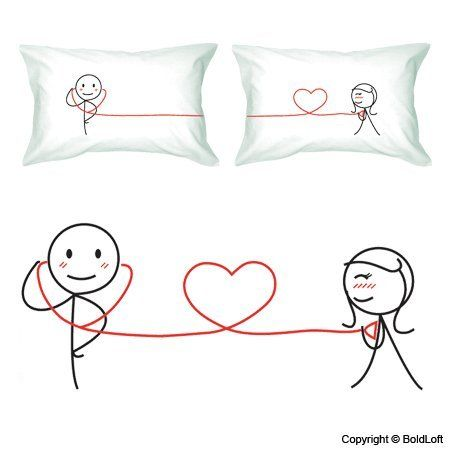 BoldLoft My Heart Beats For You Couple Pillowcases Ideal Anniversary Gifts Birthday Wedding Valentine Romantic HIM Or HER