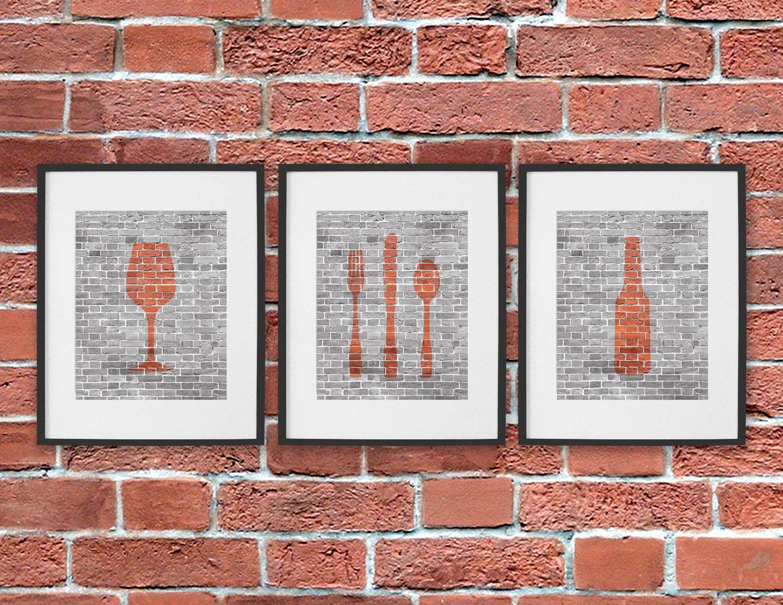 Dining room art prints beer wine cutlery set of bottle glass
