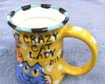 Crazy Cat Lady Whimsical Ceramic Pottery Cat Mug Message Mug