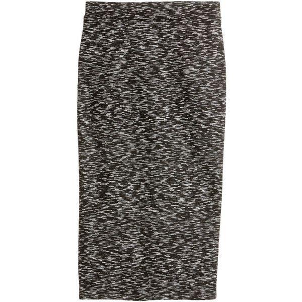 Melange Pencil Skirt $24.99 (165 DKK) via Polyvore featuring skirts, pencil skirt, textured skirt, knee length pencil skirt, elastic waist skirt and jersey pencil skirt
