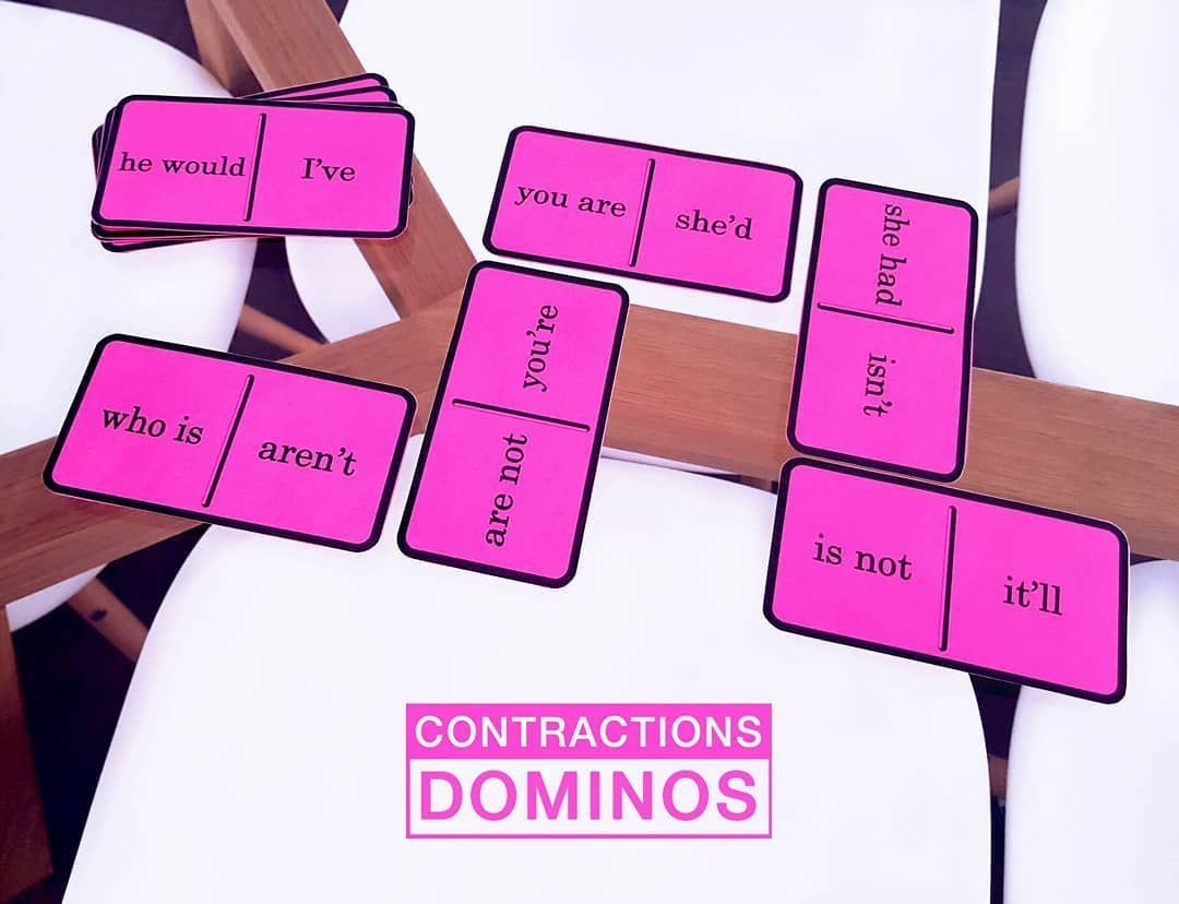 Contractions Dominos Contractions Spelling