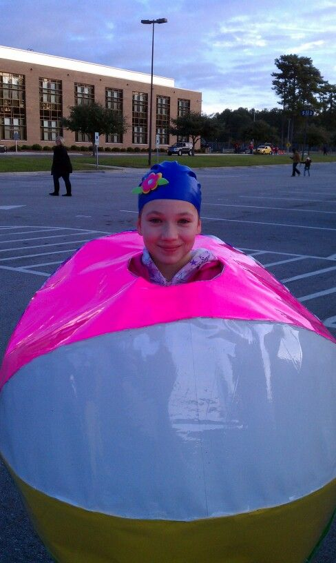 beach ball costume made from hula hoopsposter board and