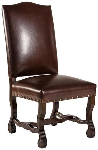 New Pair Traditional Dining Chairs Brown Leather Wood ...