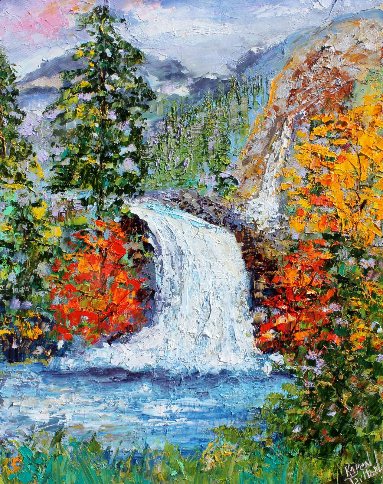 Waterfall Painting On Canvas Lianne S Paintings Painting Waterfall Paintings Art Dubai Khalifa