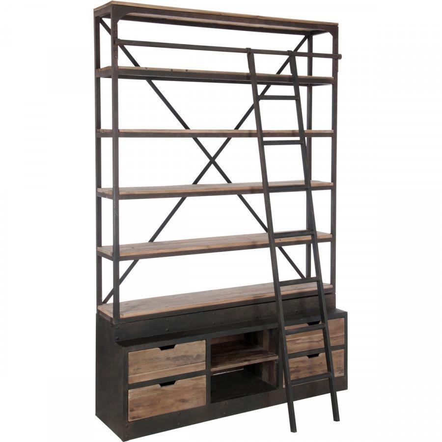 Top Kast Bieb met ladder, vintage, metaal, hout, bibliotheekkast  @YC44
