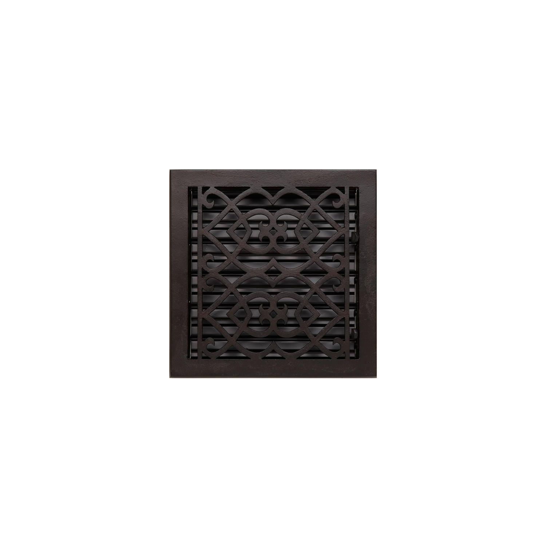 """Victorian Bronze Floor Register - 9"""" x 9"""""""