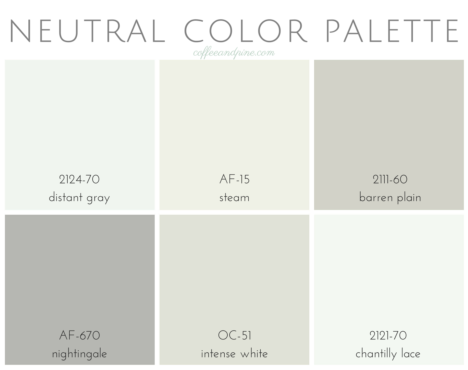 Coffee and Pine: Neutral Color Palette