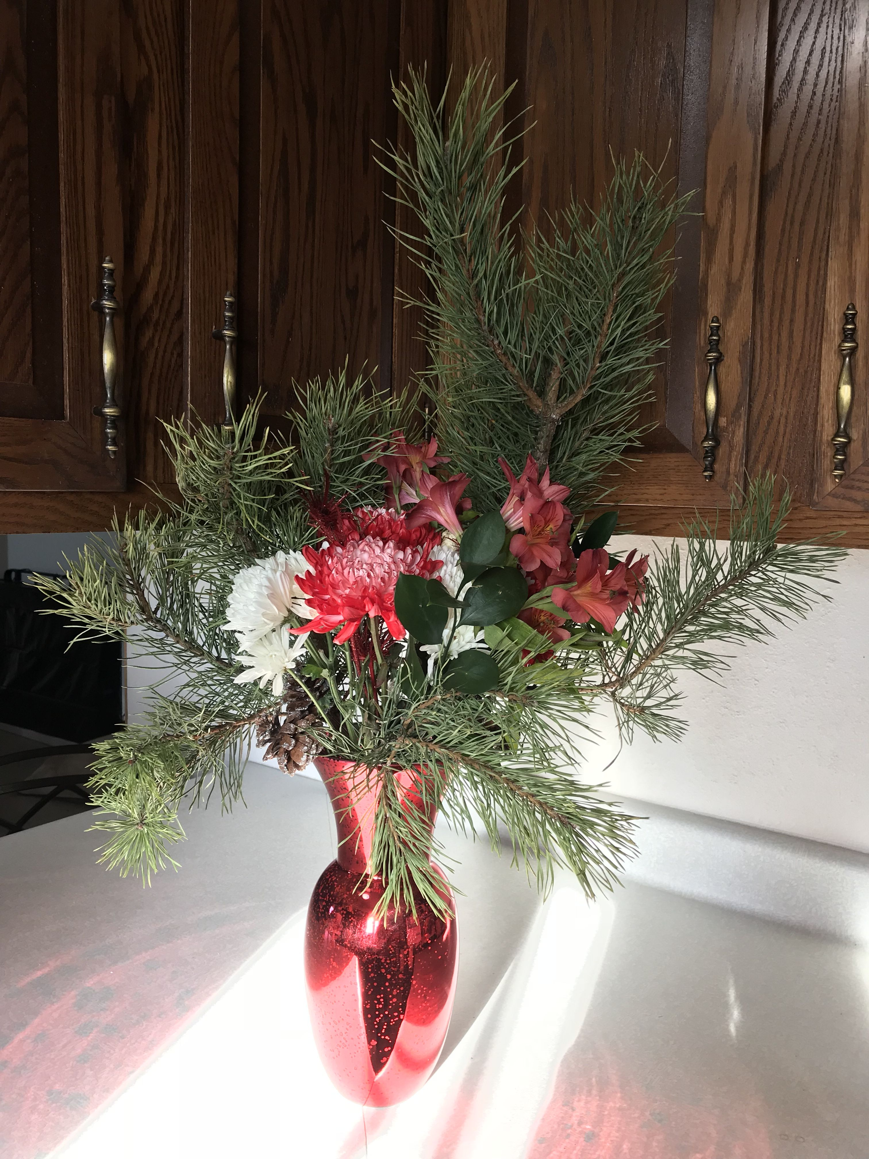 Appreciating the beauty of a winter bouquet. Winter