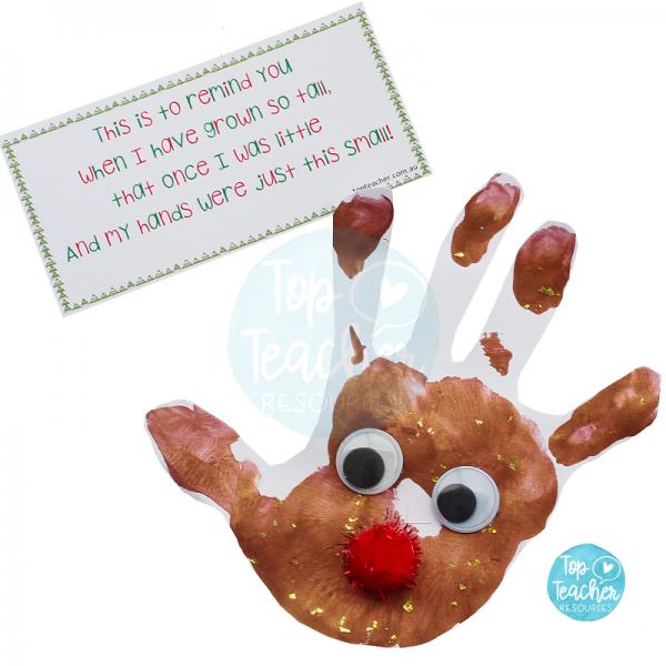 Christmas Handprint Poem   reindeer handprint ornament ...