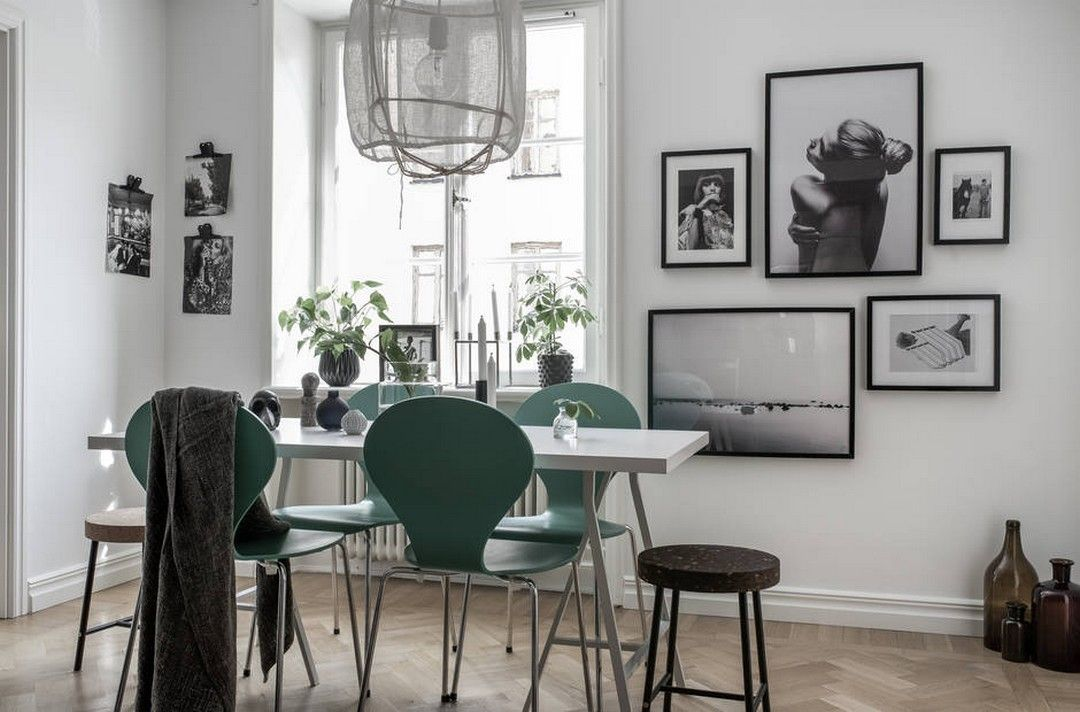 framed photos in the dining room