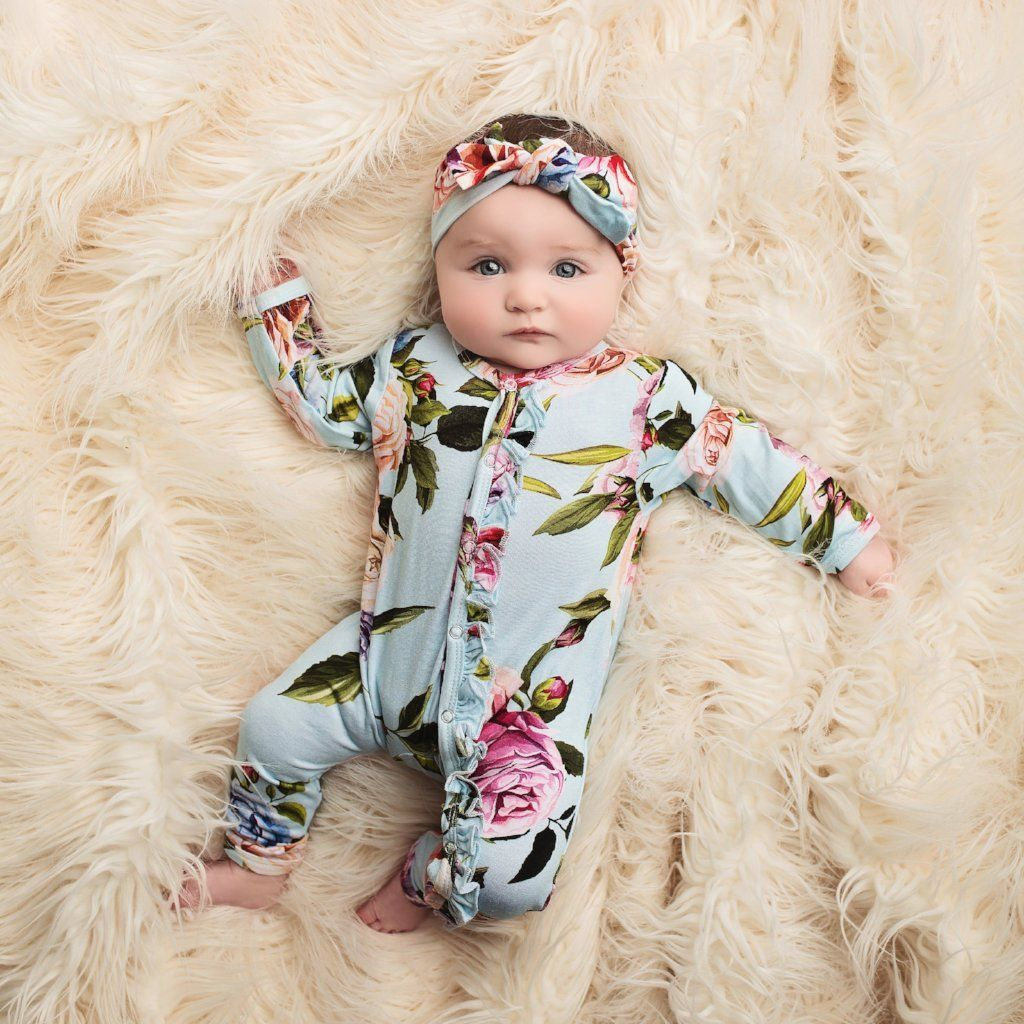 Country Rose Footie Ruffled Zippered One Piece  Organic baby