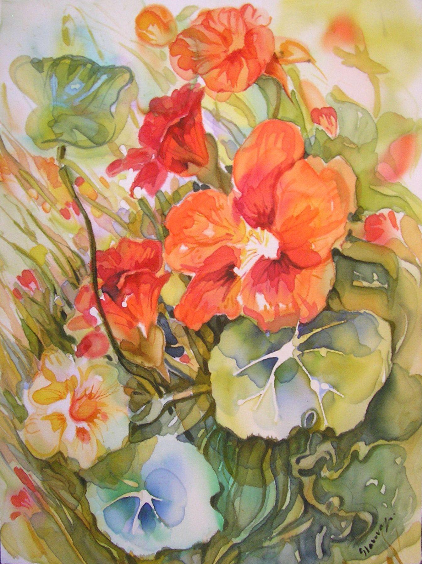 Indian Cress By Ganka Slavova Art Silk Paintings Pinterest
