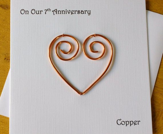 7th Anniversary Card Copper 7 Wedding Anniversary Card Traditional