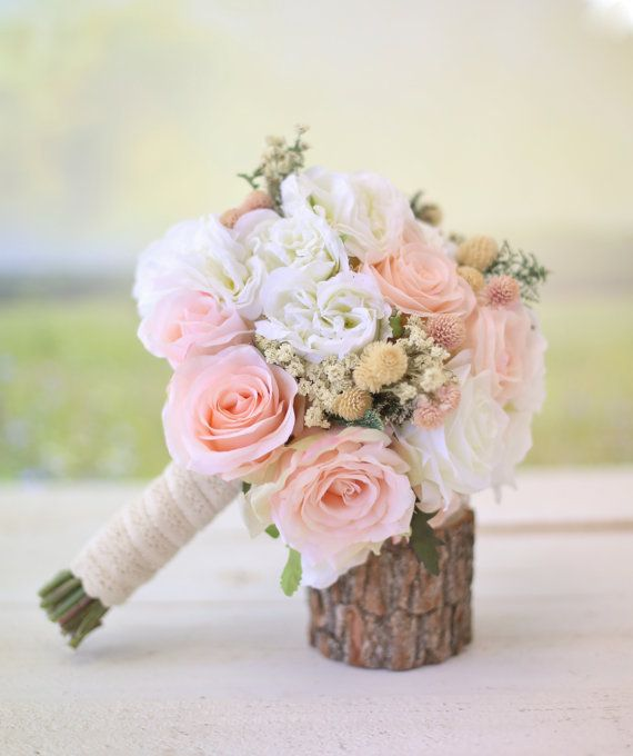 Silk Bridal Bouquet Wildflowers Pink Roses Baby s Breath  c3d0b43d403