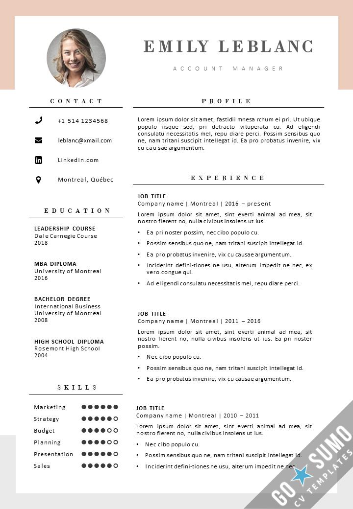 CV Template Montreal in 2020 Creative cv template