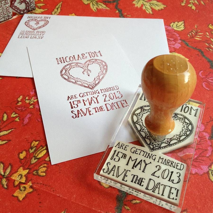 Personalised Deco Heart Wedding Stamp
