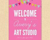 Art Party Welcome Sign Printable 8x10