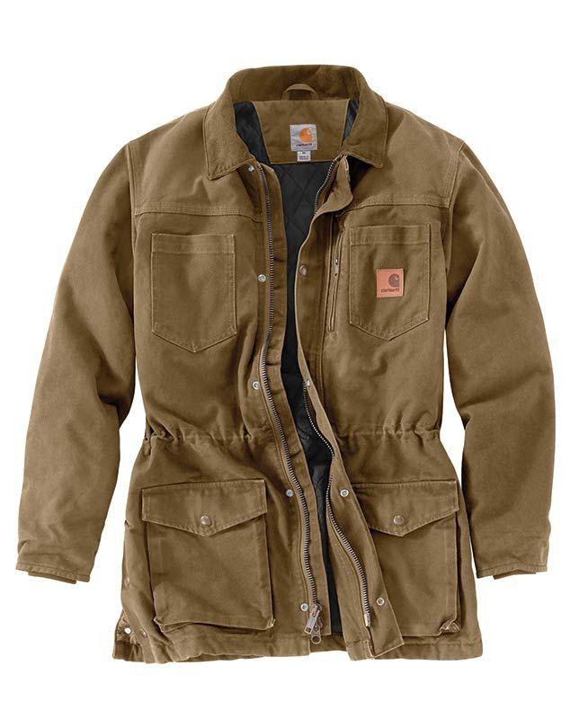 Carhartt Frontier Brown Sandstone Duck Canyon Coat Cotton