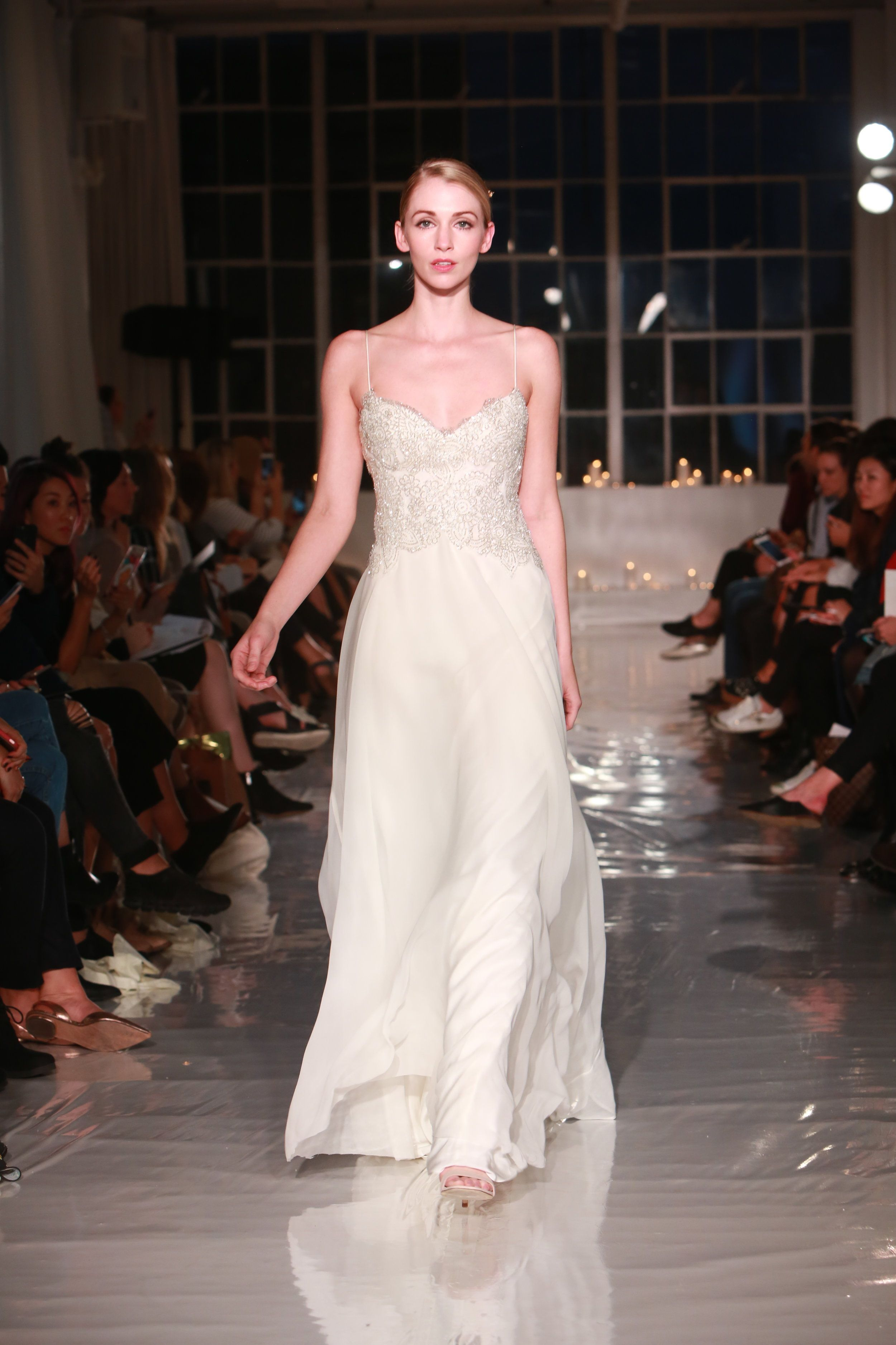 Couture wedding dresses london  London London silk chiffon and delicately handbeaded bodice wedding