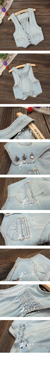 Vintage a 25 colete de primavera e verão moda colete colete jeans mulheres casaco