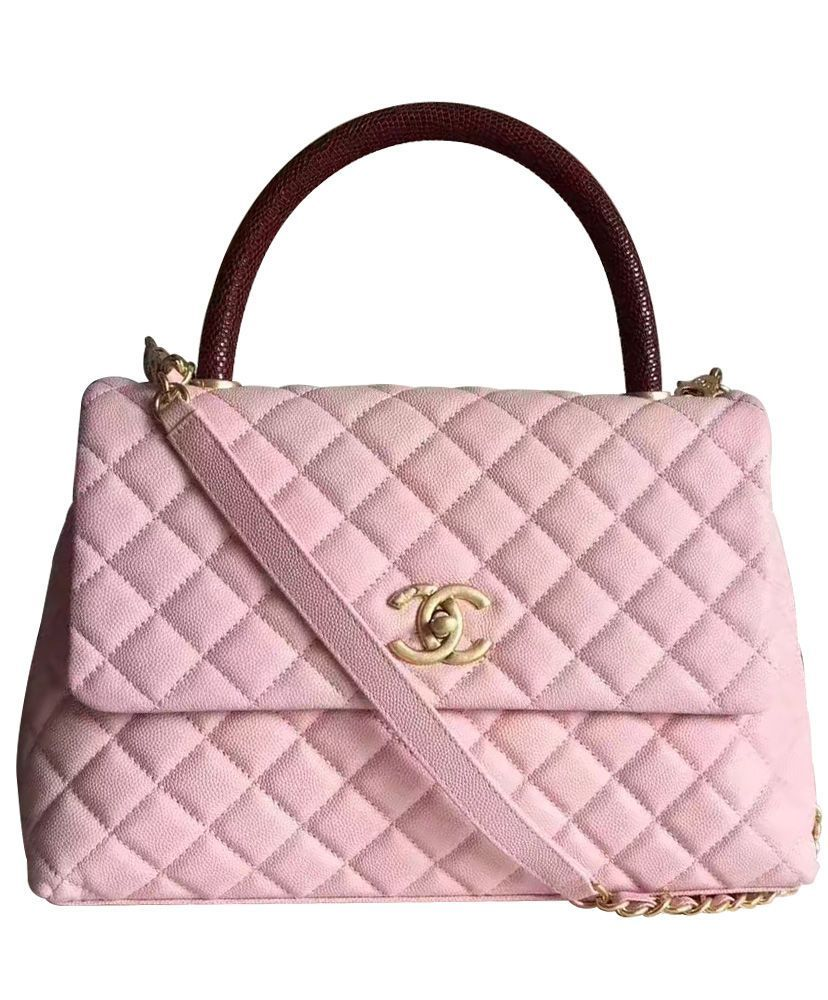Chanel Coco Grained Calfskin Flap Bag with Lizard Handle