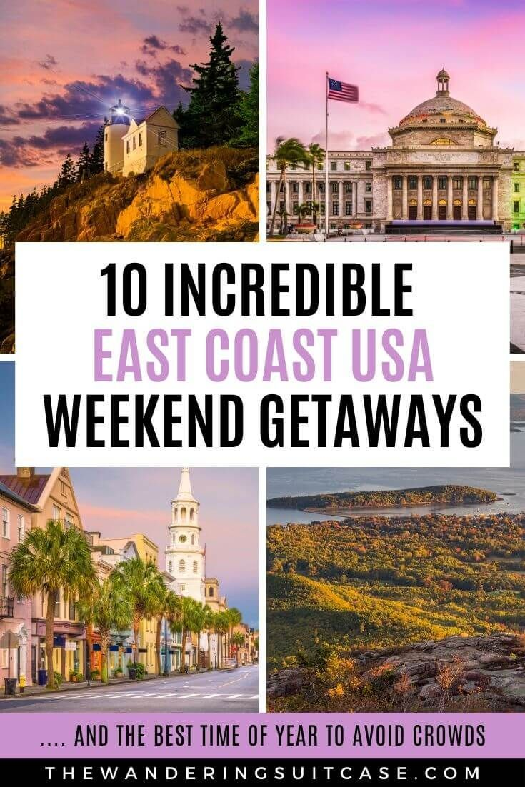 Live on the East Coast, USA? This guide to East Coast vacation ideas is for you! Covering weekend getaways and romantic weekend getaways. Whether you live in New York City, Boston or Miami, we've got you covered.  via @wanderingsuitca