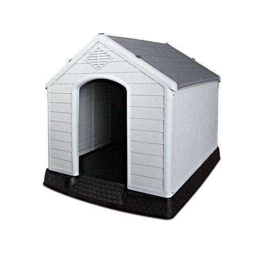 Kennel Dog House Weatherproof Plastic Extra Large Grey Dog House