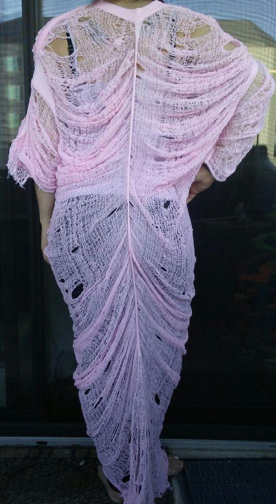 Pink hand shredded dress