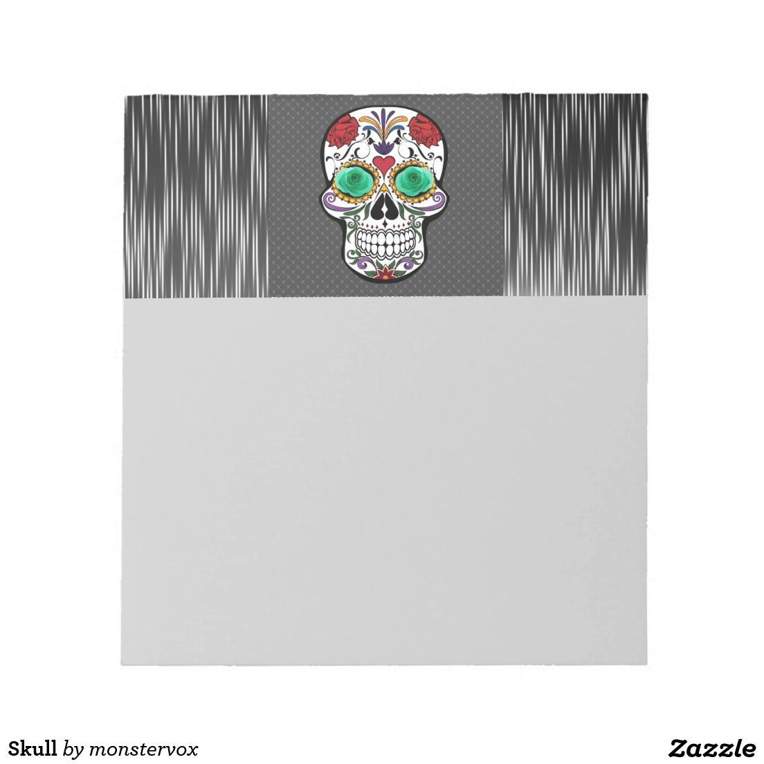 Skull Note Pad #Skull #Bone #Skeleton #Flower #Rose #Holiday #Halloween #MemoPad #NotePad