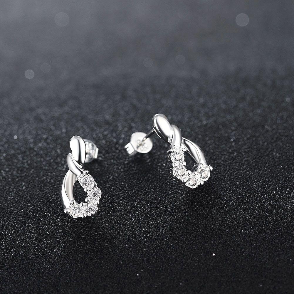 Awesome 925 Sterling Silver Infinity Shape Earrings 8jewelry