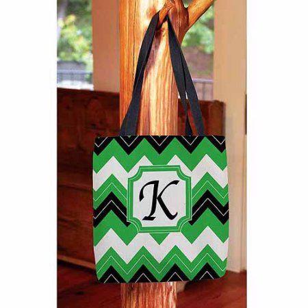 Thumbprintz - Chevron Monogram Tote Bag, Women's, Size: 16 inch x 16 inch, Black