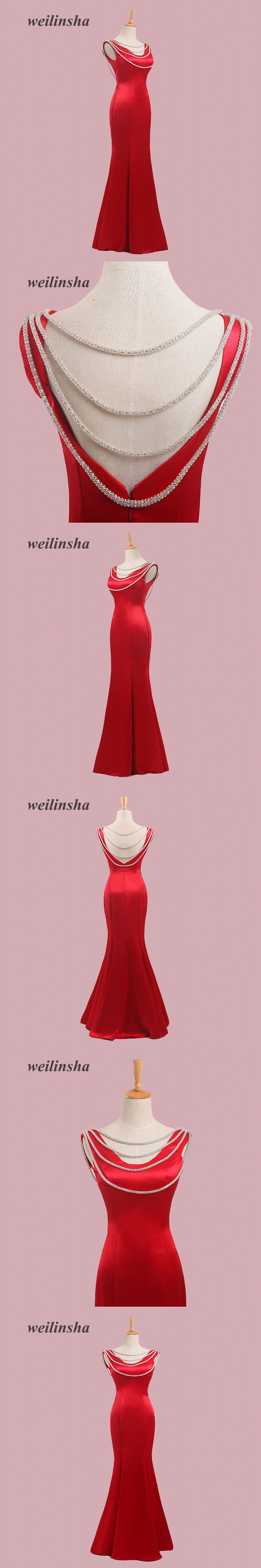 weilinsha Charming Red Mermaid Evening Dresses Scoop Neck Sexy ...