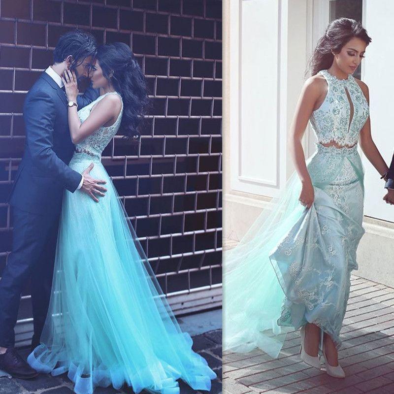 Blue 2 piece prom dress modest