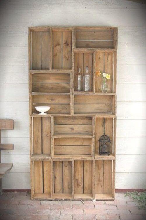 Estantería o mueble hecha con caja de madera | organizador ...