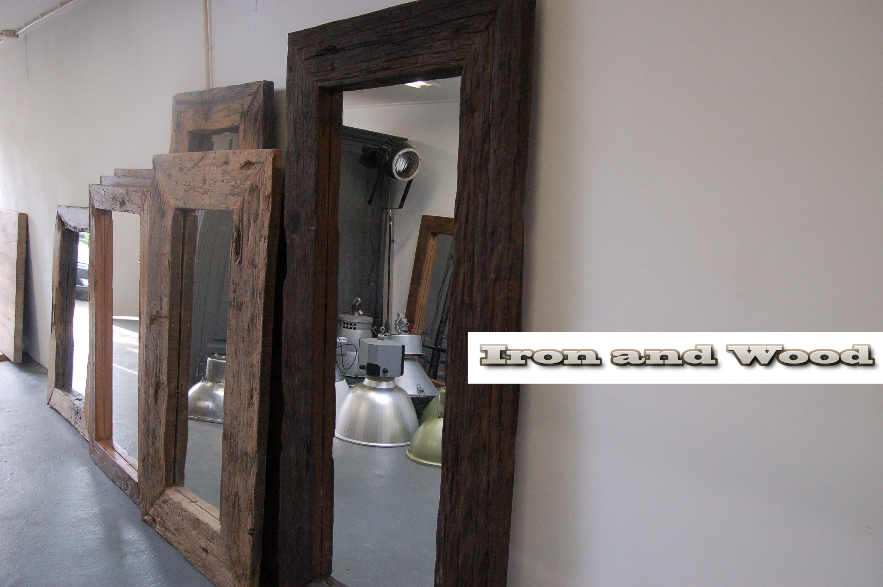 Grote Spiegel Industrieel : Grote robuuste spiegels van oud sloophout oude wagondelen