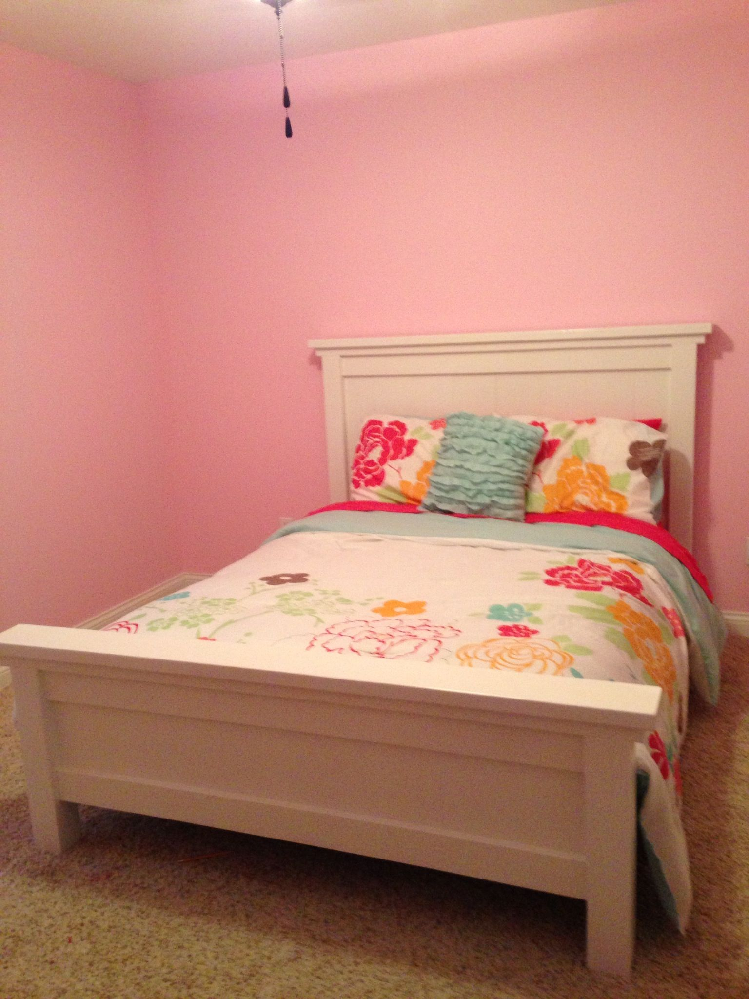 An Ana White full size farmhouse bed for my little lady