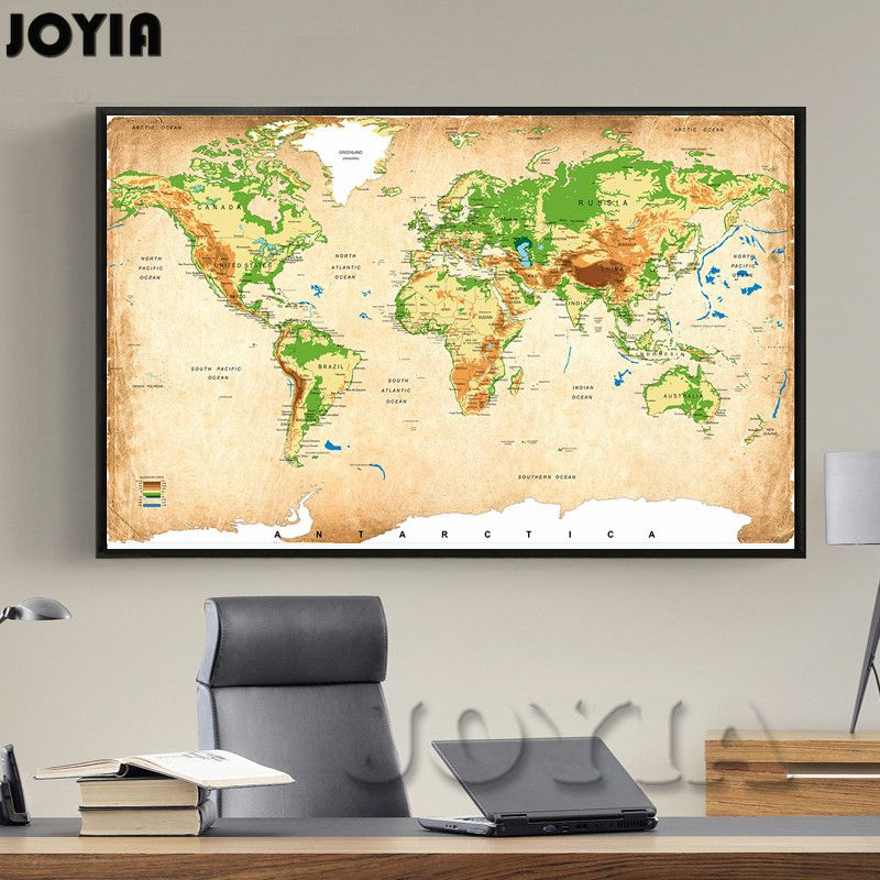 Vintage world map canvas painting retro global elevation tints vintage world map canvas painting retro global elevation tints topography wall art picture for room decoration poster and print canvas painting gumiabroncs Choice Image