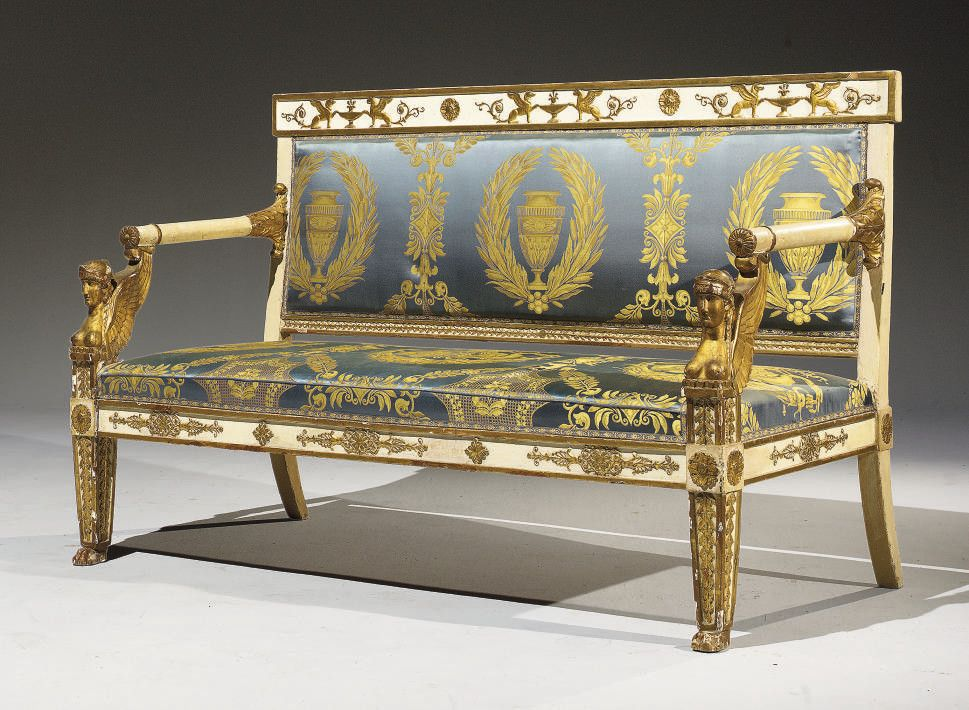 A Neoclassical White Painted And Parcel Gilt Furniture Set Comprising Two Armchairs And A Canape Probably Italian Early 19th Century