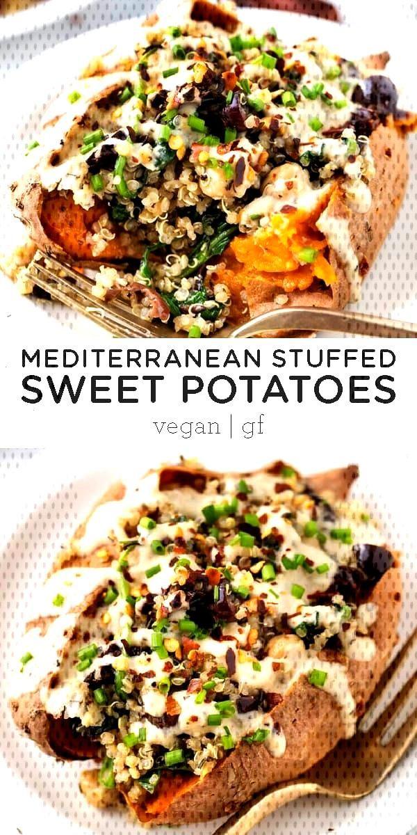Vegan Stuffed Sweet Potatoes with Mediterranean Quinoa - Simply Quinoa Vegan Stuffed Sweet Potatoes