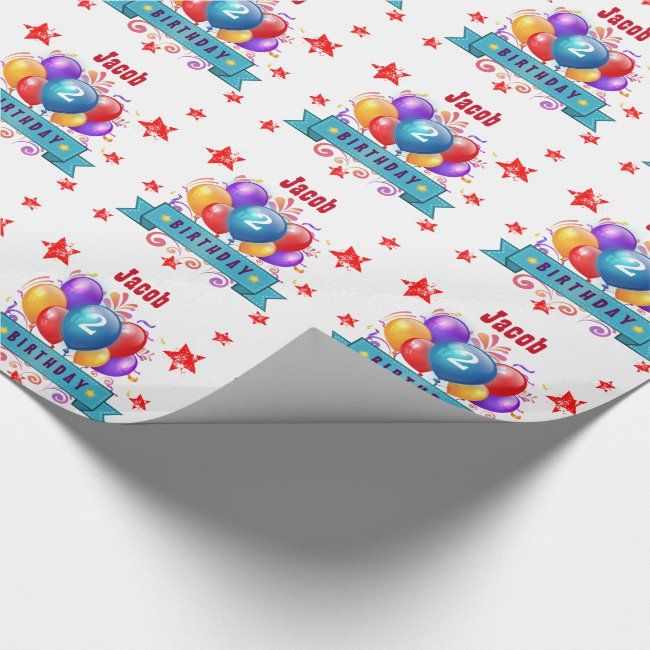 2nd BABY Birthday Festive Colorful Balloons B10IZ Wrapping Paper #jaclinart #2nd #two #second #2 #WrappingPaper