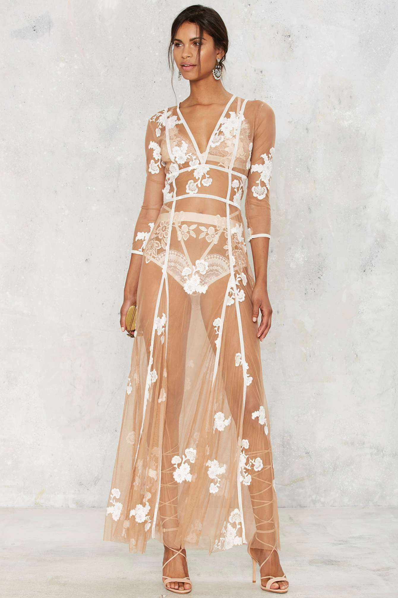 5c0e977155 Embroidered lace mesh dress. Sheer dress. Fashion. Honey moon dress ideas.  For Love   Lemons Embroidered Maxi Dress.