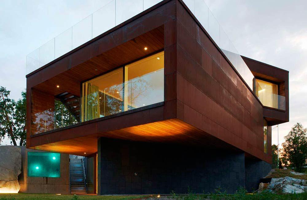 Edificios de ladrillo acero corten y vidrio buscar con for Acero corten perforado oxidado
