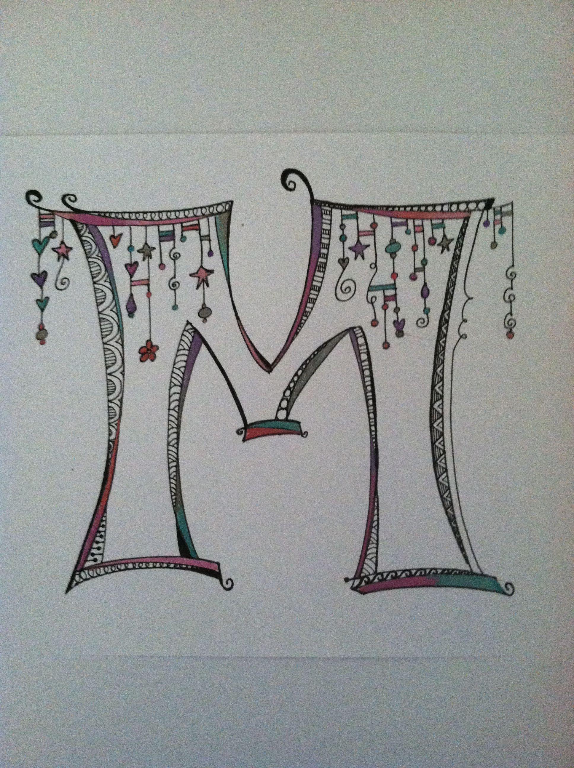 "Nice Zenspirations ""M"" monogram (With images) Doodle"