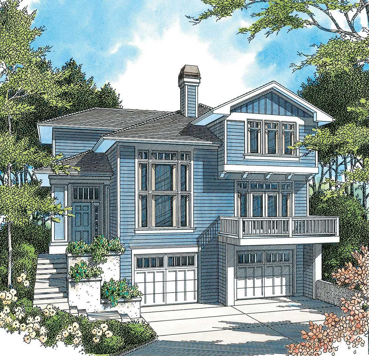 Hillside Plan With Garage Under 69131am: Plan 69180AM: Hillside Home Plan With Options